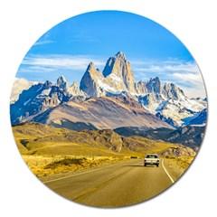 Snowy Andes Mountains, El Chalten, Argentina Magnet 5  (Round)