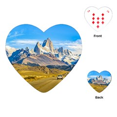 Snowy Andes Mountains, El Chalten, Argentina Playing Cards (Heart)