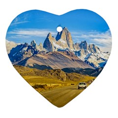 Snowy Andes Mountains, El Chalten, Argentina Heart Ornament (Two Sides)