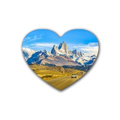 Snowy Andes Mountains, El Chalten, Argentina Rubber Coaster (Heart)
