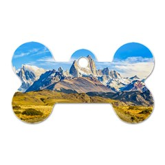 Snowy Andes Mountains, El Chalten, Argentina Dog Tag Bone (Two Sides)