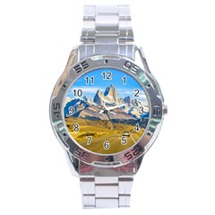 Snowy Andes Mountains, El Chalten, Argentina Stainless Steel Analogue Watch