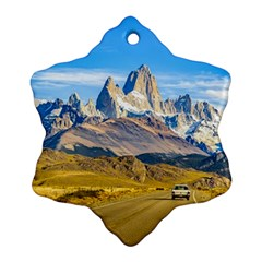 Snowy Andes Mountains, El Chalten, Argentina Snowflake Ornament (Two Sides)