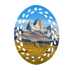 Snowy Andes Mountains, El Chalten, Argentina Oval Filigree Ornament (Two Sides)