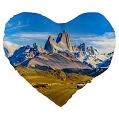 Snowy Andes Mountains, El Chalten, Argentina Large 19  Premium Heart Shape Cushions