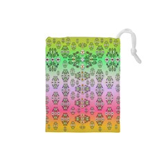 Summer Bloom In Festive Mood Drawstring Pouches (small)