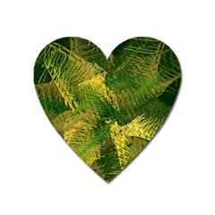 Green And Gold Abstract Heart Magnet