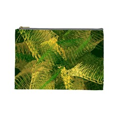 Green And Gold Abstract Cosmetic Bag (Large)