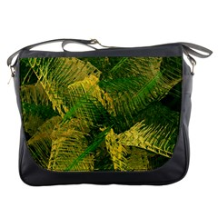 Green And Gold Abstract Messenger Bags