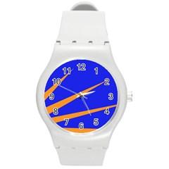 Sunburst Flag Round Plastic Sport Watch (M)