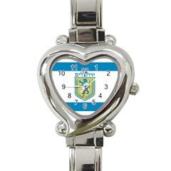 Flag of Jerusalem Heart Italian Charm Watch