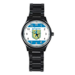 Flag of Jerusalem Stainless Steel Round Watch