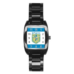 Flag of Jerusalem Stainless Steel Barrel Watch