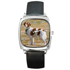 Brittany Spaniel Full Square Metal Watch