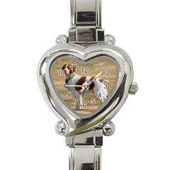 Brittany Spaniel Full Heart Italian Charm Watch