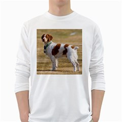 Brittany Spaniel Full White Long Sleeve T-Shirts