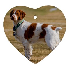 Brittany Spaniel Full Heart Ornament (Two Sides)