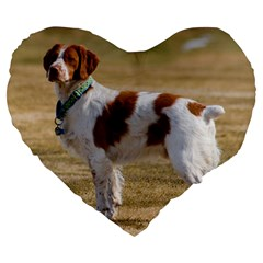 Brittany Spaniel Full Large 19  Premium Heart Shape Cushions