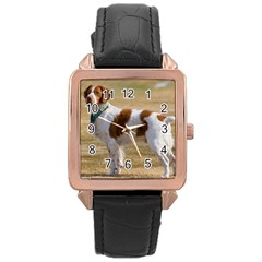 Brittany Spaniel Full Rose Gold Leather Watch