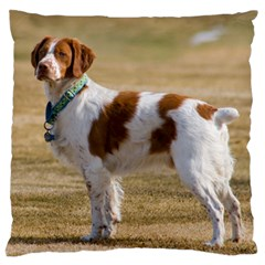 Brittany Spaniel Full Large Flano Cushion Case (Two Sides)
