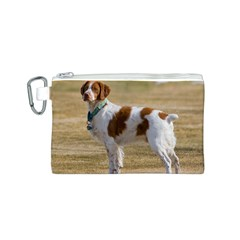 Brittany Spaniel Full Canvas Cosmetic Bag (S)