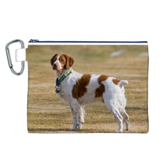 Brittany Spaniel Full Canvas Cosmetic Bag (L)