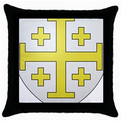 The Arms of the Kingdom of Jerusalem Throw Pillow Case (Black)