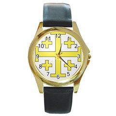 The Arms of the Kingdom of Jerusalem Round Gold Metal Watch