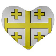 The Arms of the Kingdom of Jerusalem Large 19  Premium Heart Shape Cushions