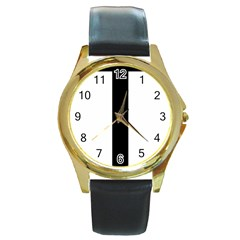 Anchored Cross Round Gold Metal Watch