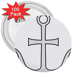 Anchored Cross  3  Buttons (100 pack)