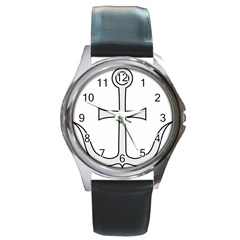 Anchored Cross Round Metal Watch
