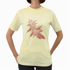 Ganja Pink Women s Yellow T-Shirt