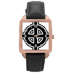 Celtic Cross Rose Gold Leather Watch