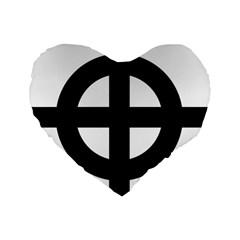 Celtic Cross  Standard 16  Premium Flano Heart Shape Cushions