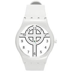 Celtic Cross  Round Plastic Sport Watch (M)