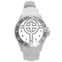 Celtic Cross  Round Plastic Sport Watch (L)