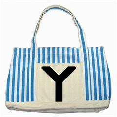 Forked Cross Striped Blue Tote Bag