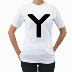 Forked Cross Women s T-Shirt (White) (Two Sided)