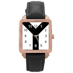 Forked Cross Rose Gold Leather Watch