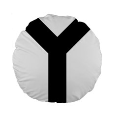 Forked Cross Standard 15  Premium Flano Round Cushions