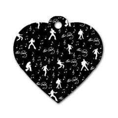 Elvis Presley pattern Dog Tag Heart (Two Sides)