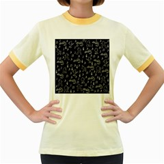 Elvis Presley pattern Women s Fitted Ringer T-Shirts