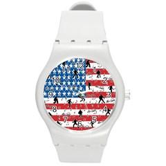 Elvis Presley pattern Round Plastic Sport Watch (M)
