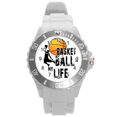 Basketball is my life Round Plastic Sport Watch (L)