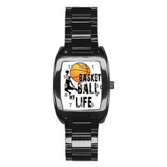 Basketball is my life Stainless Steel Barrel Watch