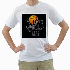 Basketball is my life Men s T-Shirt (White) (Two Sided)