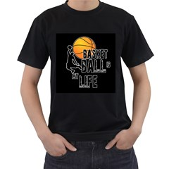 Basketball is my life Men s T-Shirt (Black) (Two Sided)