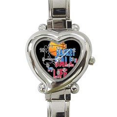 Basketball is my life Heart Italian Charm Watch