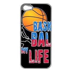 Basketball is my life Apple iPhone 5 Case (Silver)